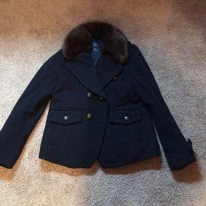 American Eagle Military Coat with Fur Collar Sz L